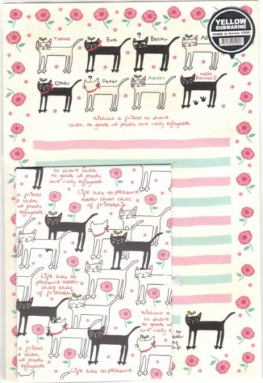 Korea Kitten w/ Flower Lettersets KAWAII