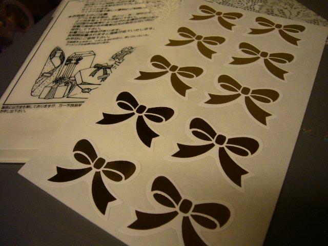 Japan Golden Ribbon Gift Stickers KAWAII