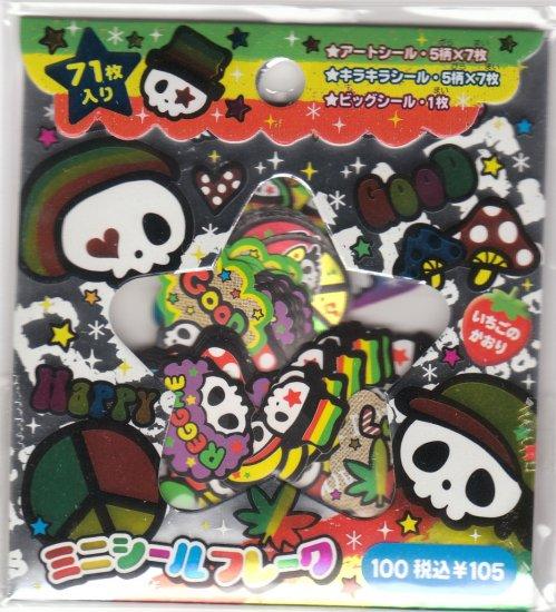 Japan Q-Lia Retro Skull Sack Stickers KAWAII