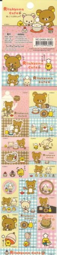Japan San-x Rilakkuma Cafe Long Sticker KAWAII