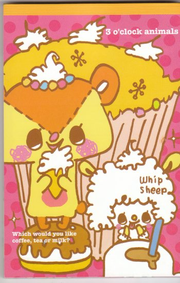 JAPAN 3 O'clock Animals Cafe Notepad (large memo pad) KAWAII