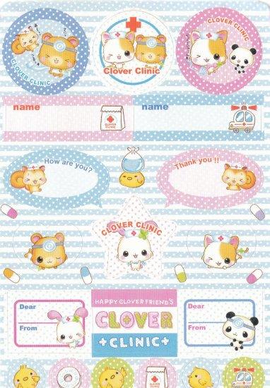Japan Q-Lia Animals Clover Clinic w/ Medicine Sticker KAWAII (C)