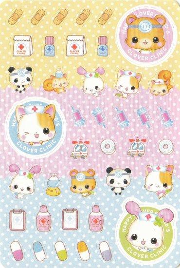 Japan Q-Lia Animals Clover Clinic w/ Medicine Sticker KAWAII (D)