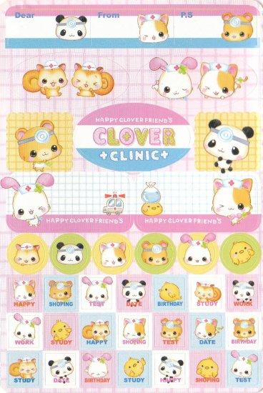 Japan Q-Lia Animals Clover Clinic w/ Medicine Sticker KAWAII (E)
