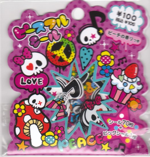Japan Mind Wave Skull Rock Sack Stickers KAWAII