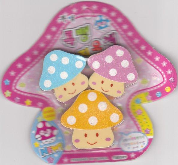 Korea Glittery Mushroom Erasers Pack KAWAII (A)