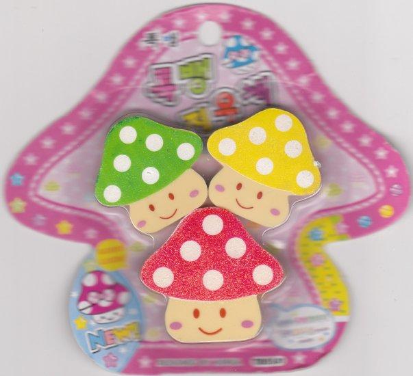 Korea Glittery Mushroom Erasers Pack KAWAII (B)