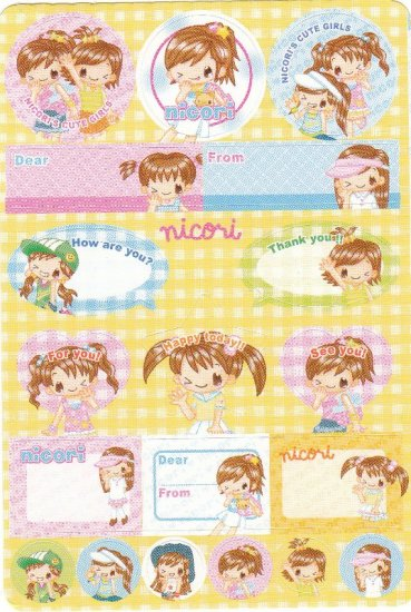 Japan Q-Lia Nicori Happy Girl Fashion Sticker KAWAII (C)