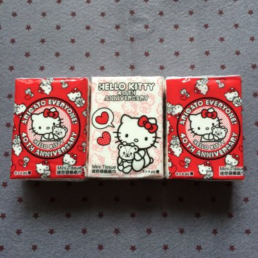 3x Japan Sanrio Hello Kitty 40 Anniversary Tissue Packs KAWAII