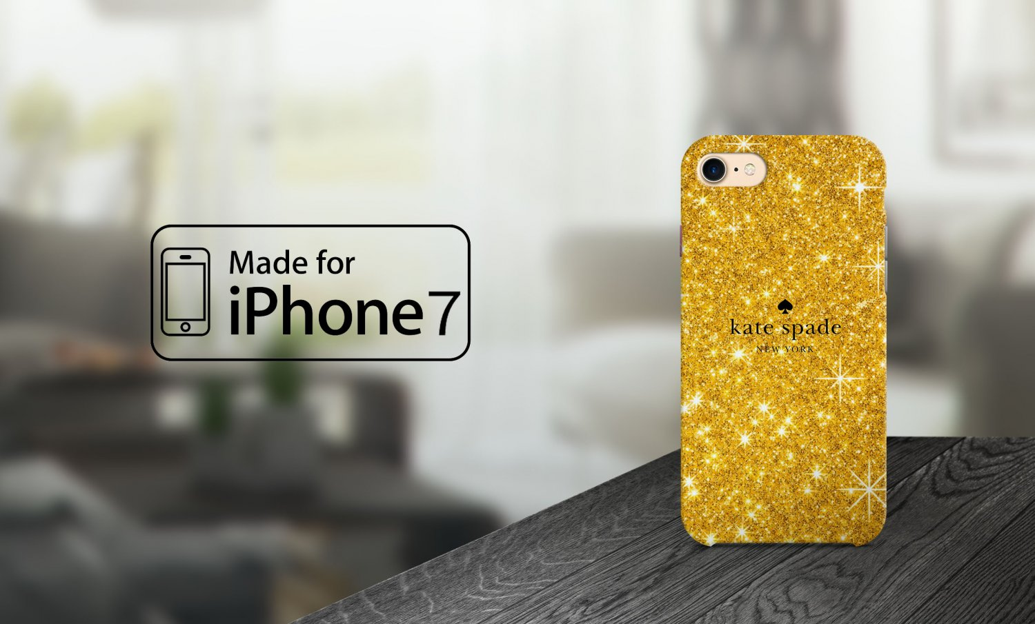 Hot Kate Spade New York Logo Gold Glitter For iPhone 7 Plus Hard Case Cover