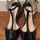 Prada Black Patent Leather T Strap Peep Toe Mary Jane Pumps Heels Size 36 / US 6