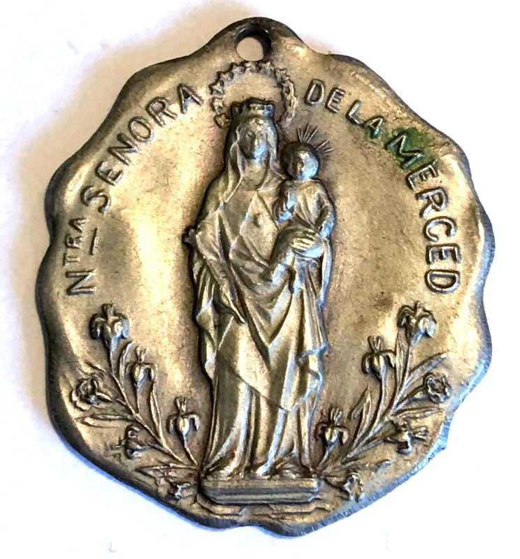Rare Large Antique Silver Holy Medal Our Lady of Mercy Virgin Mother Mary Christ Child Jesus