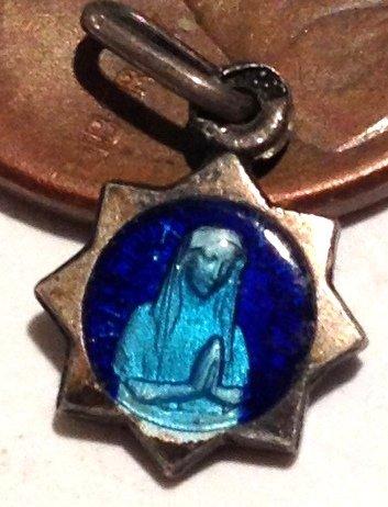 Tiny French Antique Cobalt Blue Enamel Our lady Lourdes vintage Charm Virgin Mary Saint Medal
