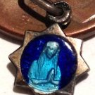 Tiny French Antique Cobalt Blue Enamel Our lady Lourdes vintage Charm Virgin Mary Saint Medal