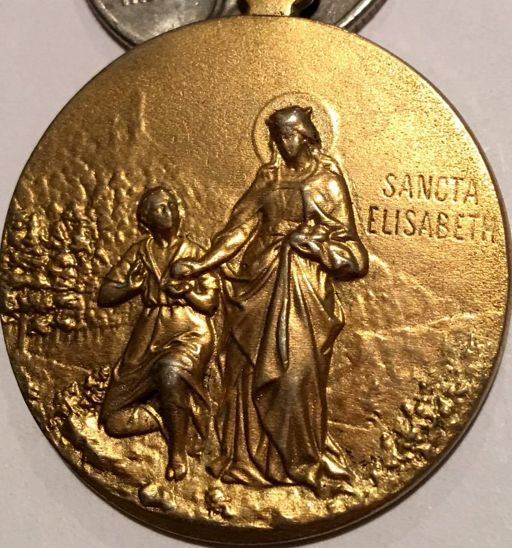 Large Rare Antique Gilt Holy Medal Patron Saint Elizabeth Hungary Virgin Mary immaculate