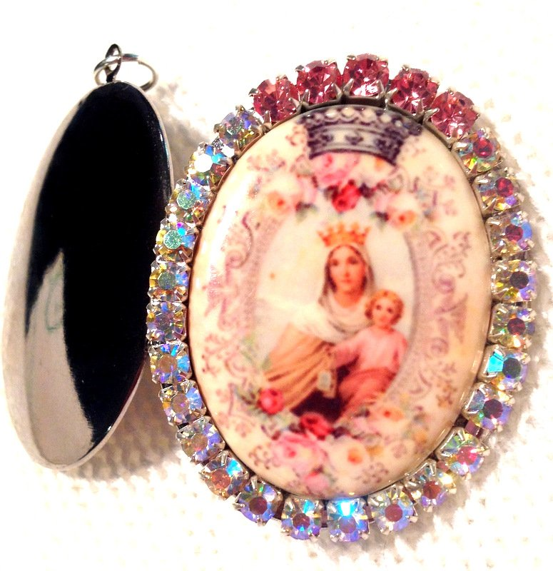 Large Virgin Mary Pink AB Rhinestone Locket Porcelain Cameo Madonna and Child Jesus Pendant Jewelry