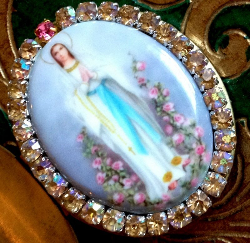 Large Our Lady of Lourdes Porcelain Cameo Rhinestone Locket Prayer box Religious Jewelry