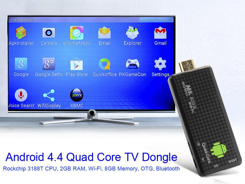 Android 4.4 Quad Core TV Stick - Rockchip 3188T CPU, 2GB RAM, Wi-Fi, 8GB Memory, OTG, Bluetooth