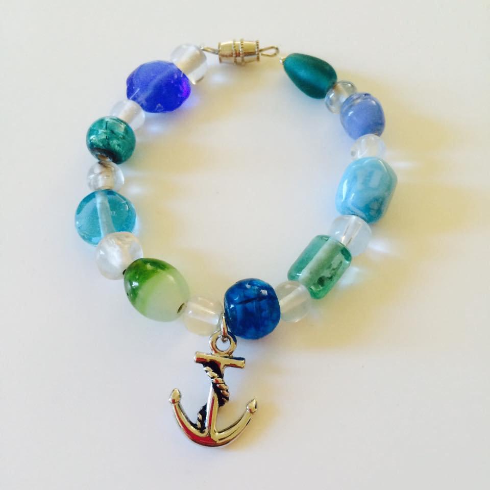 Pebble Beach Bracelet with Anchor Charm