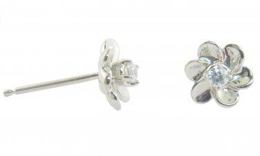Genuine Diamond Flower Shaped Earrings 14kt White Gold
