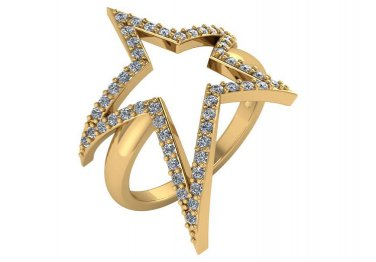 0.50 CT Genuine Diamond Large Star Ring 14kt Yellow Gold Size 4