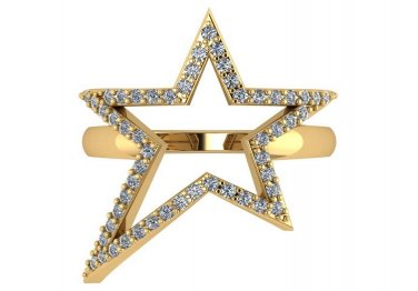 0.50 CT Genuine Diamond Large Star Ring 14kt Yellow Gold Size 9