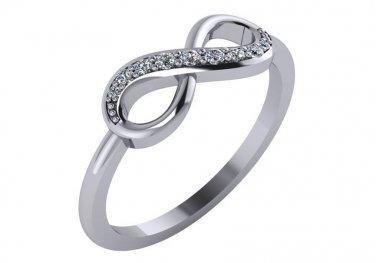 Diamond Infinity Ring 1/8 cttw Genuine Diamonds Size 4.5