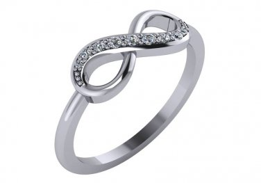 Diamond Infinity Ring 1/8 cttw Genuine Diamonds Size 7.5