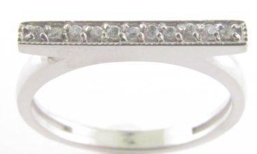 Genuine Diamond Bar Ring 10kt White Gold Size 4.5