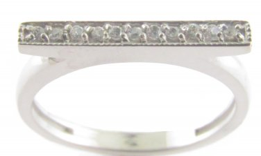 Genuine Diamond Bar Ring 10kt White Gold Size 5