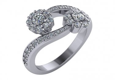 1 CT Two-Stone Diamond Bypass Cluster Ring 14kt White Gold Sizes 4-9
