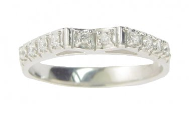 1/3 Carat Genuine Diamond Ladies Curved Wedding Anniversary Ring In 14kt White Gold Size 4