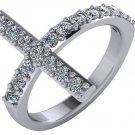 3/4 Carat Genuine Diamond Sideways Cross Ring 14k White Gold Size 6