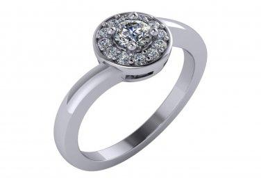 1/2 CT Round Diamond Halo Engagement Ring 14K White Gold Size 4