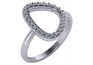 1/4 Carat Genuine Diamond Ladies Free Form Ring 14kt White Gold Sizes 4-9