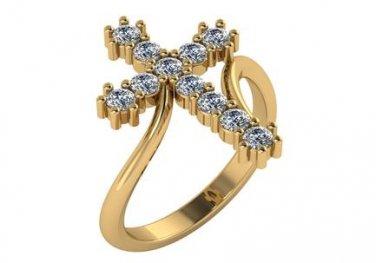 Large Diamond Cross Ring 14kt Yellow Gold 0.55 Carat Genuine Diamonds Size 4