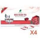 Natural Rose Black Tea Powder 20 Sachets Great Holiday Gifts Quantity of 4 pk