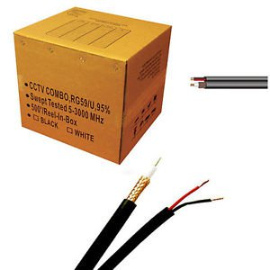 Five star Coaxial CCTV Cable UL Litsted RG59 Siamese 500 ft. Black