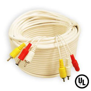 60 Ft super grade RCA CCTV cable with power cord plus 2 RCA Female to BNC Female