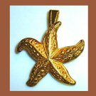StarFish Yellow Gold Tone Star Fish Pendant