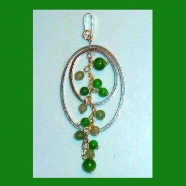 Double Oval Sterling Silver Pendant with Dangle Green Beads & Links