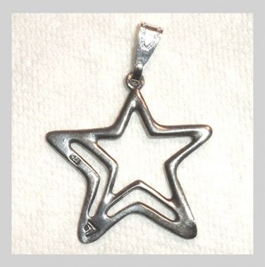 Vintage Star In A Half Star 965 Sterling Silver Pendant