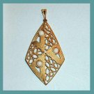 Vintage Diamond shape Lattice design Yellow Gold plated Pendant