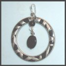 Vintage Black Beads & White Crystals Dangle Sterling Silver Circle Pendant