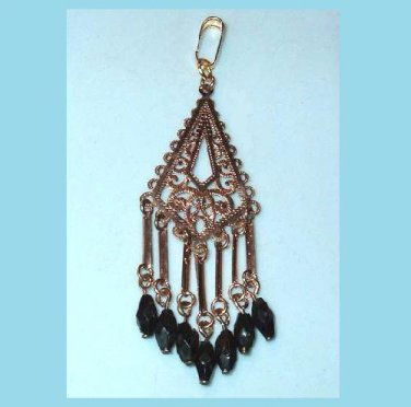 Vintage Kite Shaped Lattice Design Black & Gold Beads Dangle Pendant