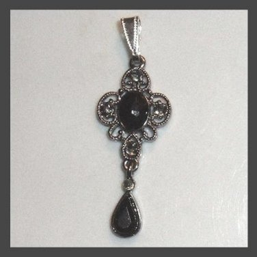 Vintage Quatrefoil Shape Sterling Silver Pendant with Black Beads & Inlaid Crystals