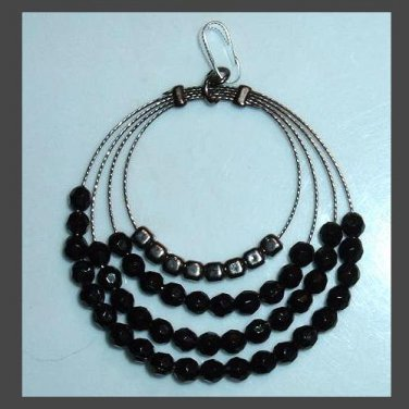 Vintage 4 Tier Wire Circles & Black Beads Sterling Silver Pendant