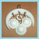 Vintage White Half MOON & 3 SUNS Gold Dangle Pendant