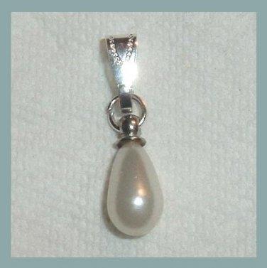 Teardrop Shaped White Faux Pearl Sterling Silver Pendant