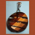 Round Brown and Bronze Striped See-thru Sterling Silver Pendant